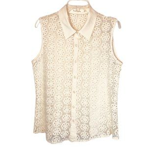 Solitaire Size Large Ivory Lace Sleeveless Top